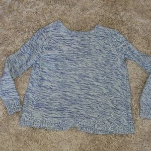Gap girls size S6/7 marbled blue open back sweater